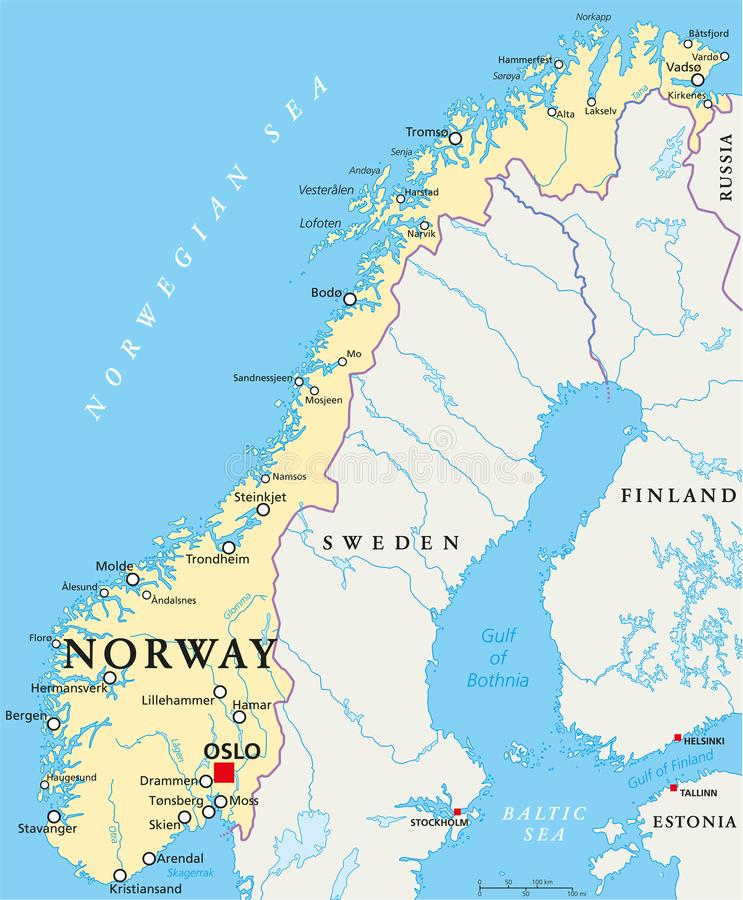 Norway Political Map stock vector Illustration of bothnia 104393660