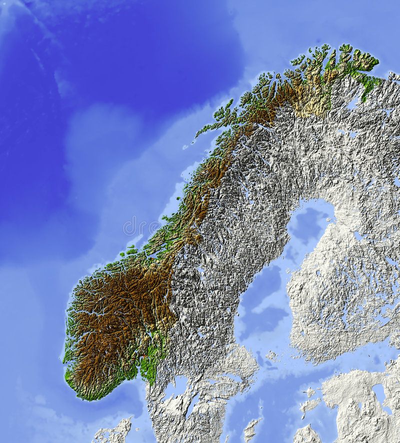 Norway Relief Map Stock Image Image - Norway vegetation map