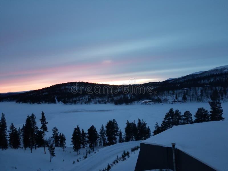 Norway river sunset 1 stock photo