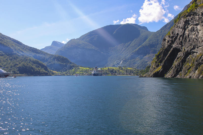 Norway - Sognefjord. The Sognefjord is Norway's longest and deepest fjord, and it's famous arm the Nærøyfjord has World Heritage status. The royalty free stock photography