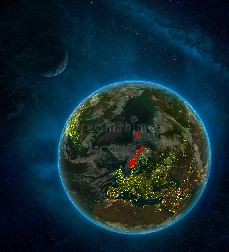 Norway from space on Earth at night surrounded by space with Moon and Milky Way. Detailed planet with city lights and clouds. 3D. Illustration. Elements of this vector illustration