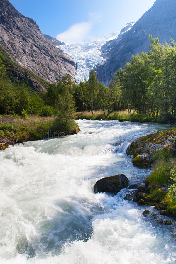 Norway. Summer day in the valley of a glacier Briksdal stock images