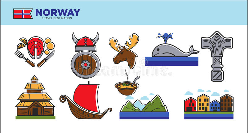 Norway Travel Landmark Symbols Or Norwegian Tourist Famous Culture