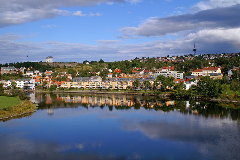 Norway, Trondheim. Peaceful town, beautiful view of the river in Trondheim, Norway stock photo