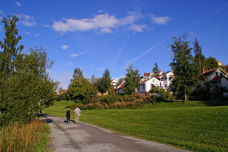 Norway, Trondheim. Peaceful town, beautiful view of the meadow in Trondheim, Norway royalty free stock photos