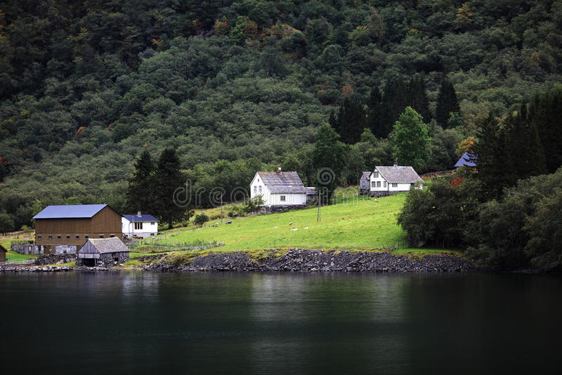 Norway village stock photo