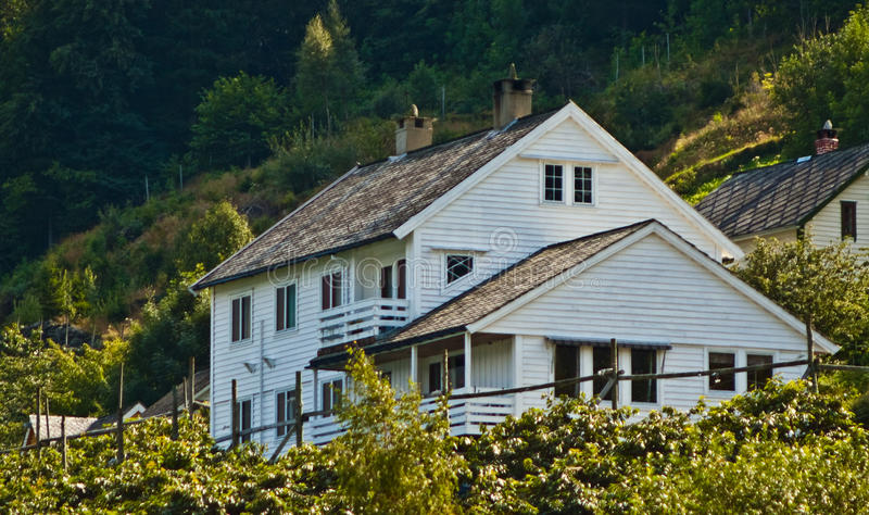 Norway, white wooden house on a hill stock photos