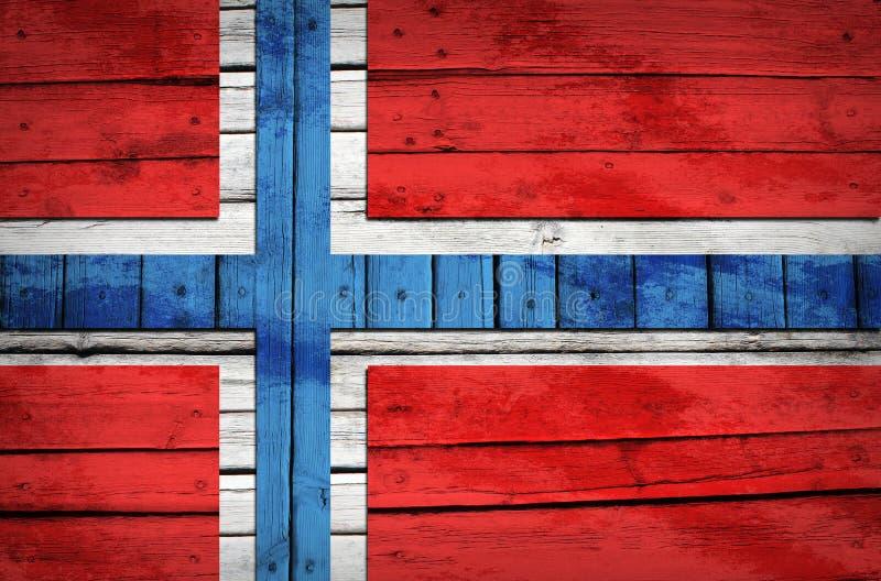 Norweg flaga malująca na drewnianych deskach obraz royalty free
