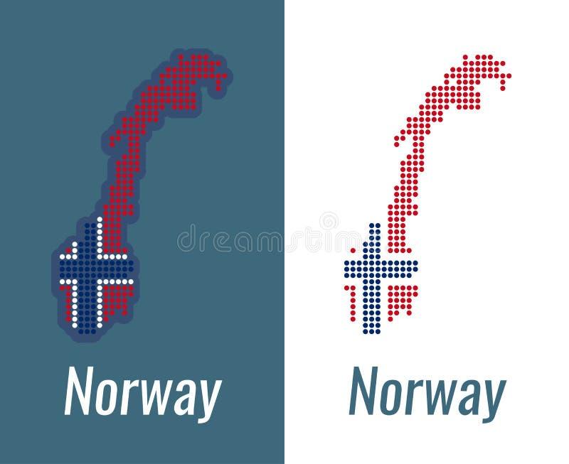 Norweg kropek mapa na ciemnym i białym tle - Wektorowy ilustracja kontur w kolorze flaga państowowa Norwegia royalty ilustracja