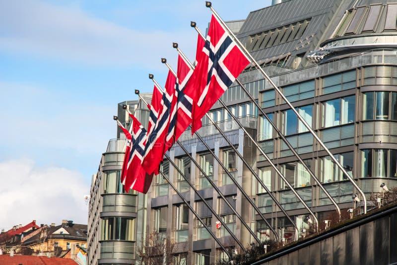 Norweg zaznacza unosić się na budynku zdjęcie royalty free