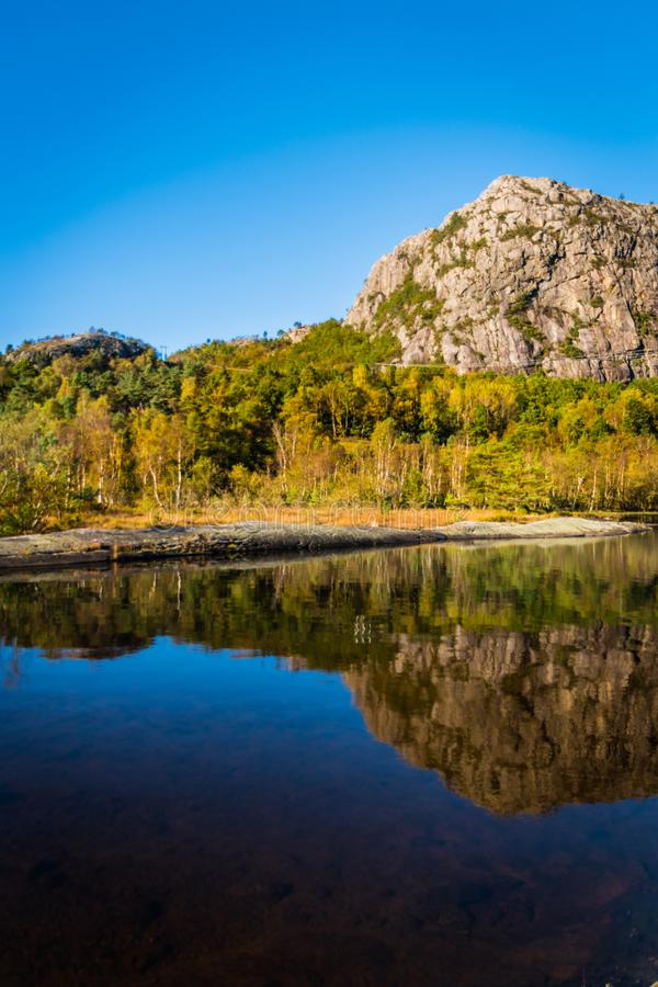 Norwegen in der Sommergebirgswaldseereflexion lizenzfreie stockfotos