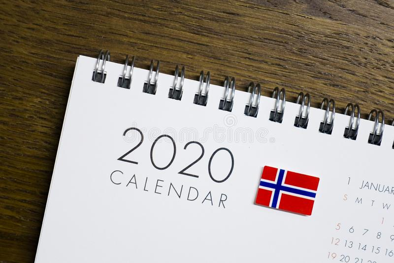 Norwegen-Flaggen-2020 Kalender lizenzfreie stockbilder