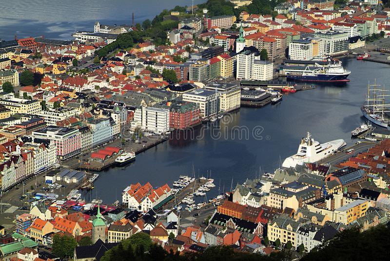 Norwegen, Hafen Vagen in Bergen stockbild