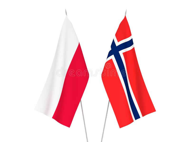 Norwegen- und Polen-Flaggen stock abbildung