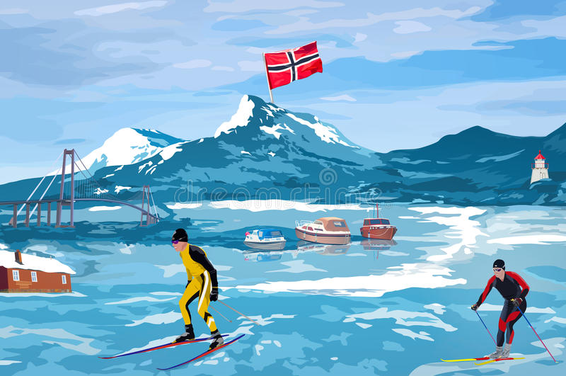 Norwegen-Willkommenskarte stock abbildung