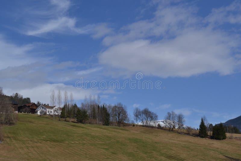 Norwegerbauernhof im Frühjahr lizenzfreies stockbild