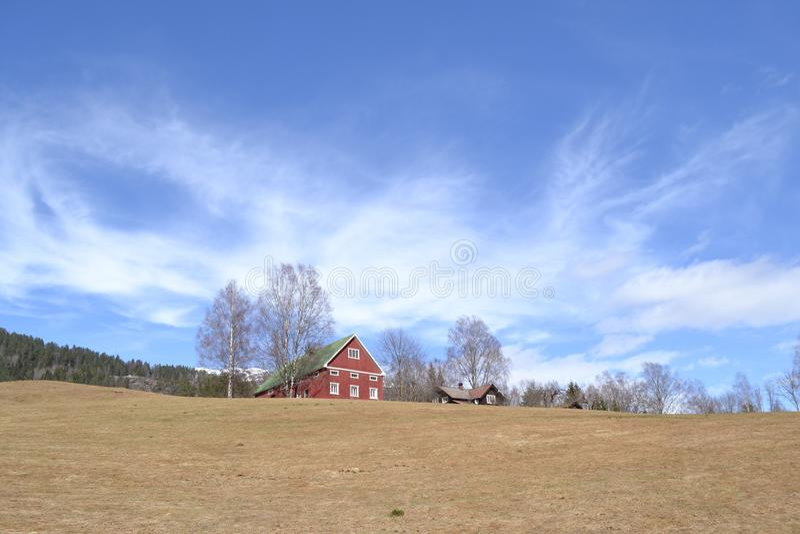 Norwegerbauernhof im Frühjahr stockfoto