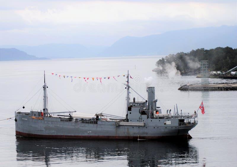 Norwegia ładunku stary statek; parowy statek «Hestmanden « zdjęcie stock