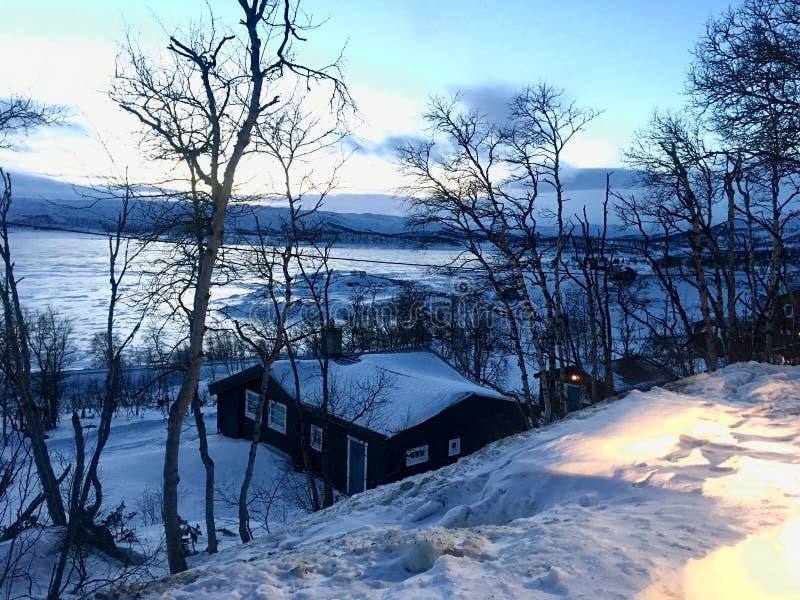 Norwegia śnieżna zima zdjęcie stock