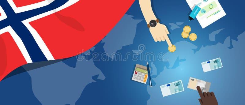 Norwegia gospodarki pieniądze handlu pojęcia fiskalna ilustracja pieniężny bankowość budżet z chorągwianą mapą i walutą royalty ilustracja