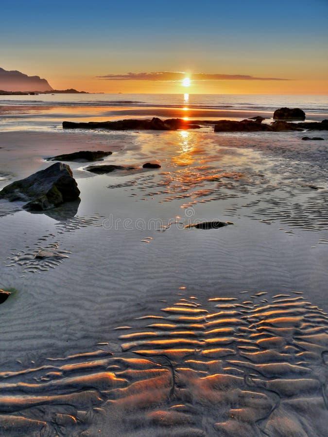 Norwegia krajobrazu linii brzegowej zmierzch, Lofoten wyspy zdjęcie royalty free
