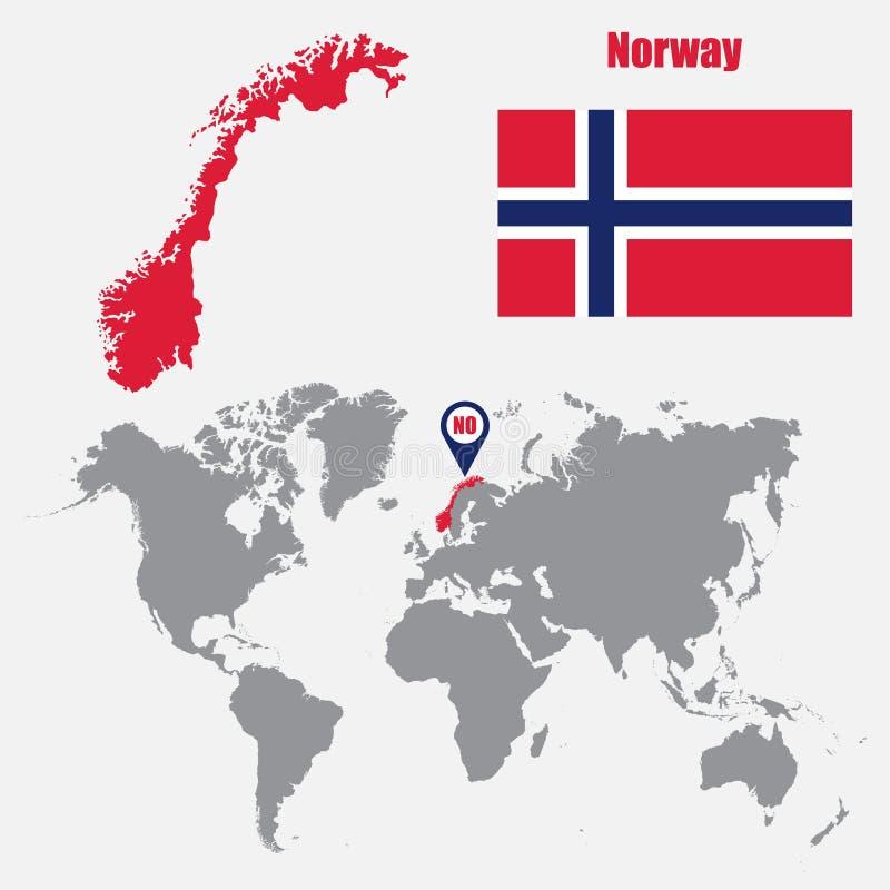 Norwegia mapa na światowej mapie z flaga i mapy pointerem również zwrócić corel ilustracji wektora ilustracji
