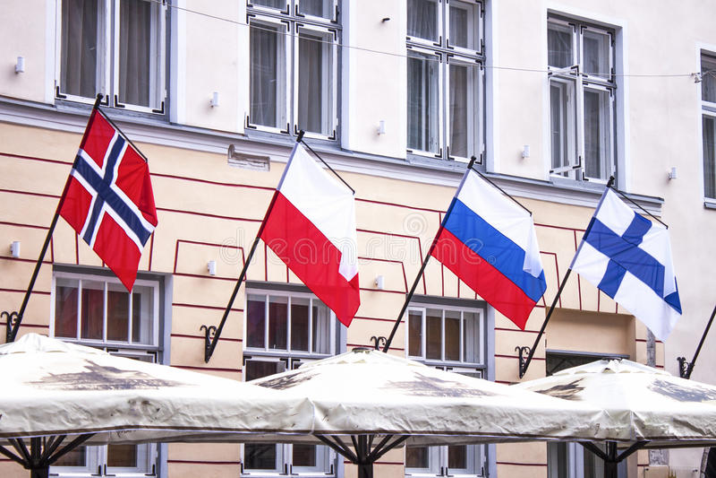 Norwegia Poland Russia Finland flaga obrazy stock