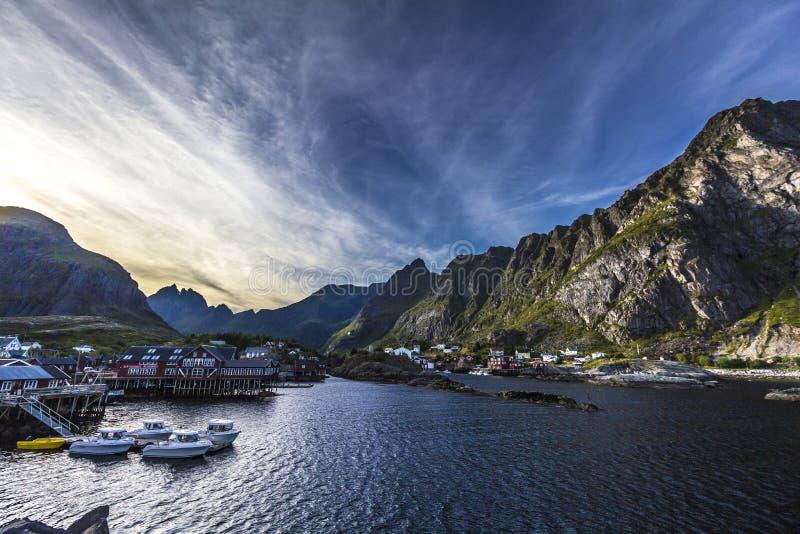 Norwegia Reine, Lofoten wyspy - obraz stock