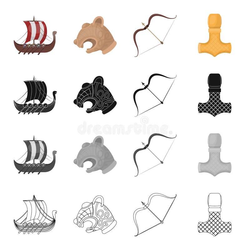 Norwegia, Viking, atrybuty i inna sieci ikona w kreskówce, projektujemy Aliaż, instrument, bój, ikony w ustalonej kolekci ilustracja wektor