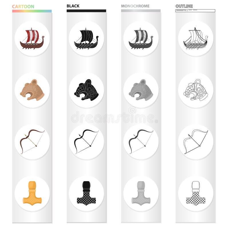 Norwegia, Viking, atrybuty i inna sieci ikona w kreskówce, projektujemy Aliaż, instrument, bój, ikony w ustalonej kolekci ilustracji