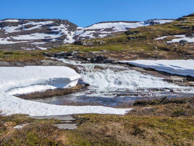Norwegia - wast rzeczny częściowy zakrywający śniegiem płynie w średniogórzach fotografia stock