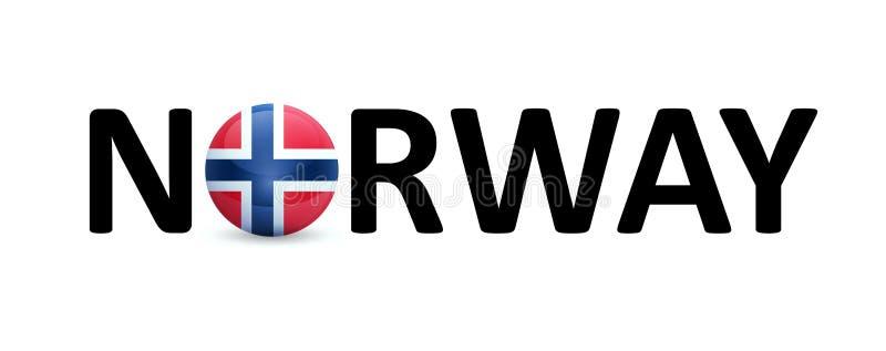 Norwegia - wektoru znak z round flagą w tekscie ilustracja wektor