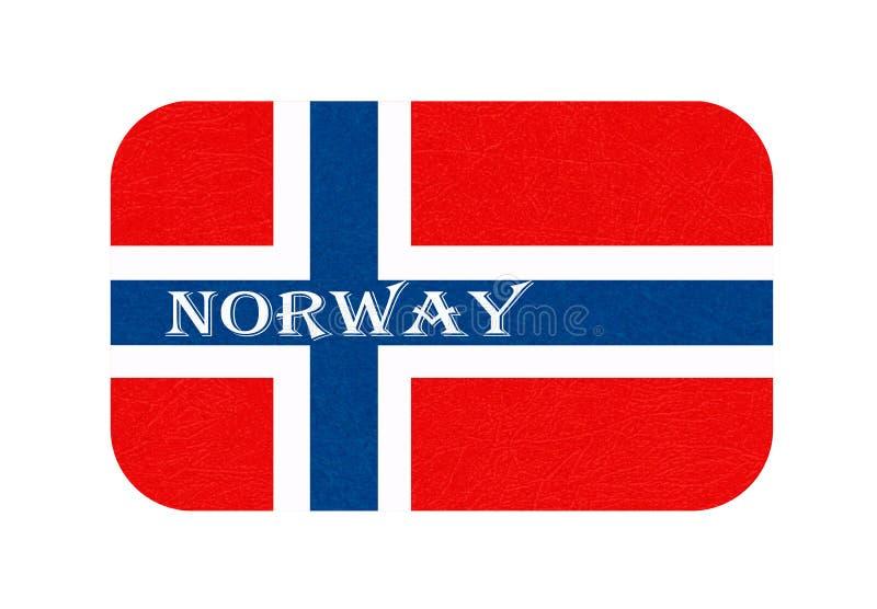 Norwegia zaznacza, Skandynawski kraj, odosobniony Norweski sztandar z porysowaną teksturą, grunge ilustracji