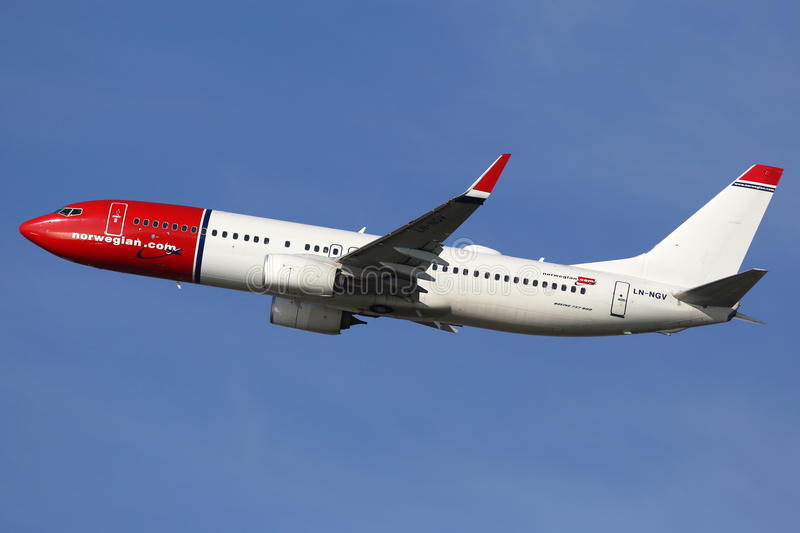 Norwegian Air Shuttle Boeing 737-800 airplane. Barcelona, Spain - December 12, 2014: A Norwegian Air Shuttle Boeing 737-800 with the registration LN-NGV taking royalty free stock photography