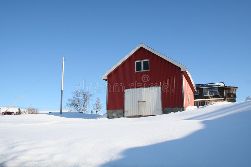 Norwegian boathouse royalty free stock photo