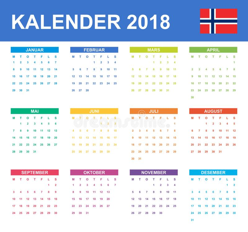 Norwegian Calendar for 2018. Scheduler, agenda or diary template. Week starts on Monday.  vector illustration