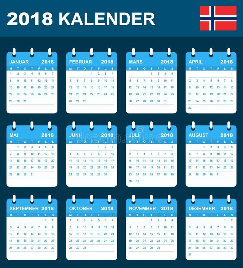 Norwegian Calendar for 2018. Scheduler, agenda or diary template. Week starts on Monday. Norwegian Calendar 2018. Scheduler, agenda or diary template. Week royalty free illustration