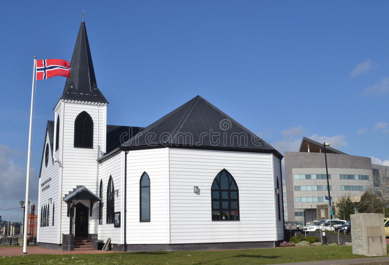 Norwegian Church Cardiff Bay, Wales royalty free stock photography
