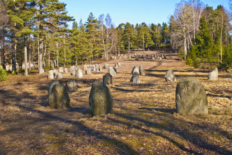 Norwegian cultural heritage, Hunn graveyard. When someone died in the pre-roman iron age (c. 500 BC), the corpse was burned at the stake. Sometimes the grave royalty free stock photo