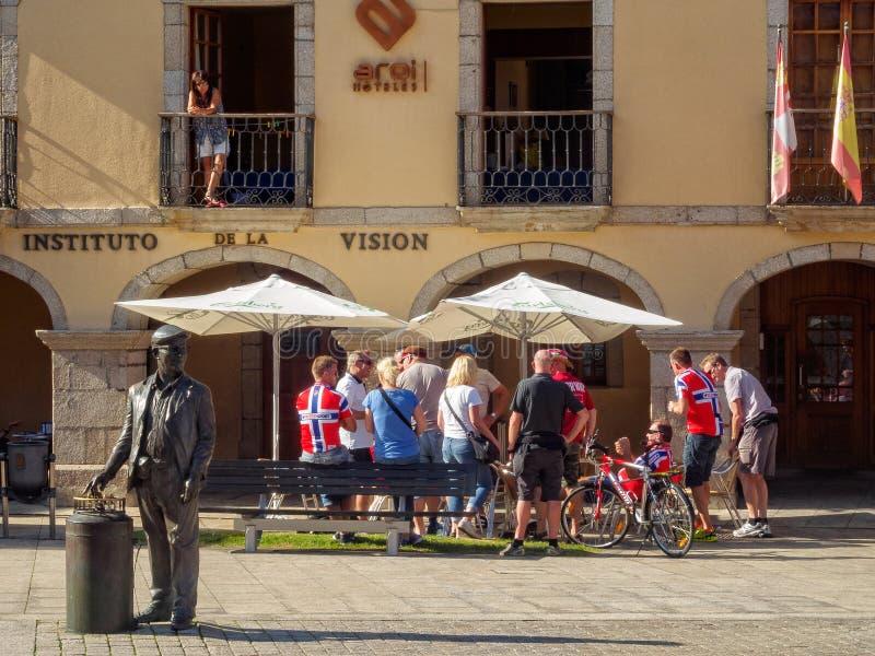 Norwegian cycling fans - Ponferrada stock photos