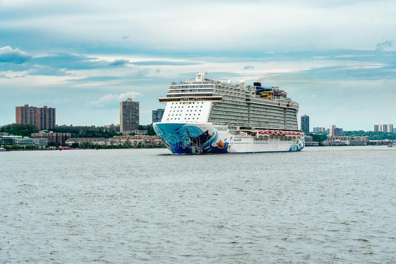 Norwegian Escape Cruise Ship, New York Harbor, NYC stock photography