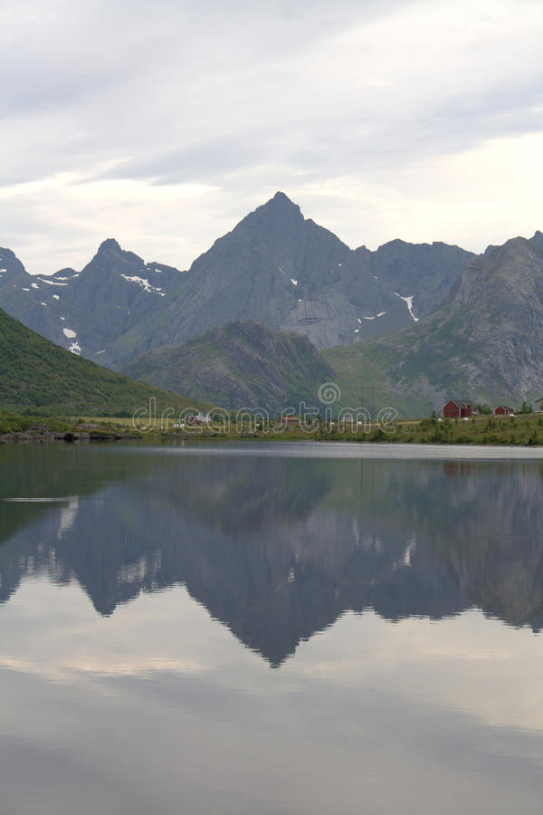 Norwegian fjord in Lofoten royalty free stock photos