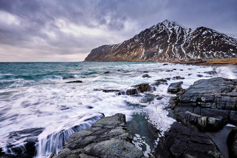 Norwegian fjord and mountains in winter. Lofoten islands, Norway stock photography