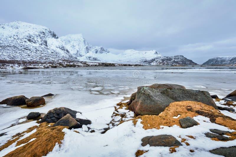 Norwegian fjord in winter stock photography