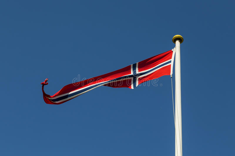 Norwegian Flag. Photograph of a long and thin Norwegian flag stock photos