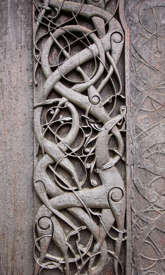 Norwegian folk art. At Urnes Stave Church stock photo