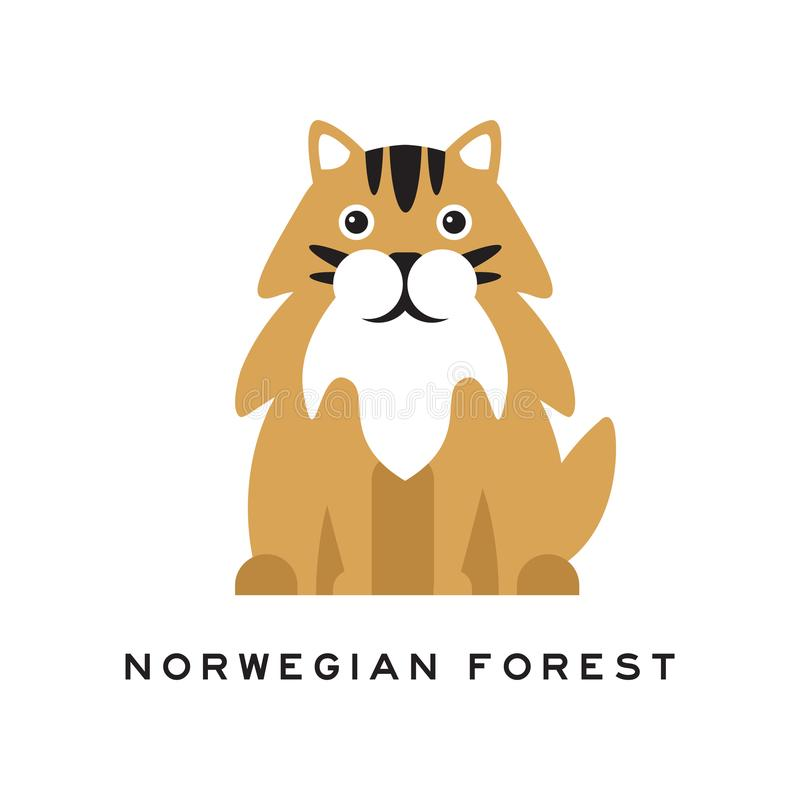Norwegian forest cat icon in monochrome style isolated on white background.  cat breeds symbol stock vector illustration.