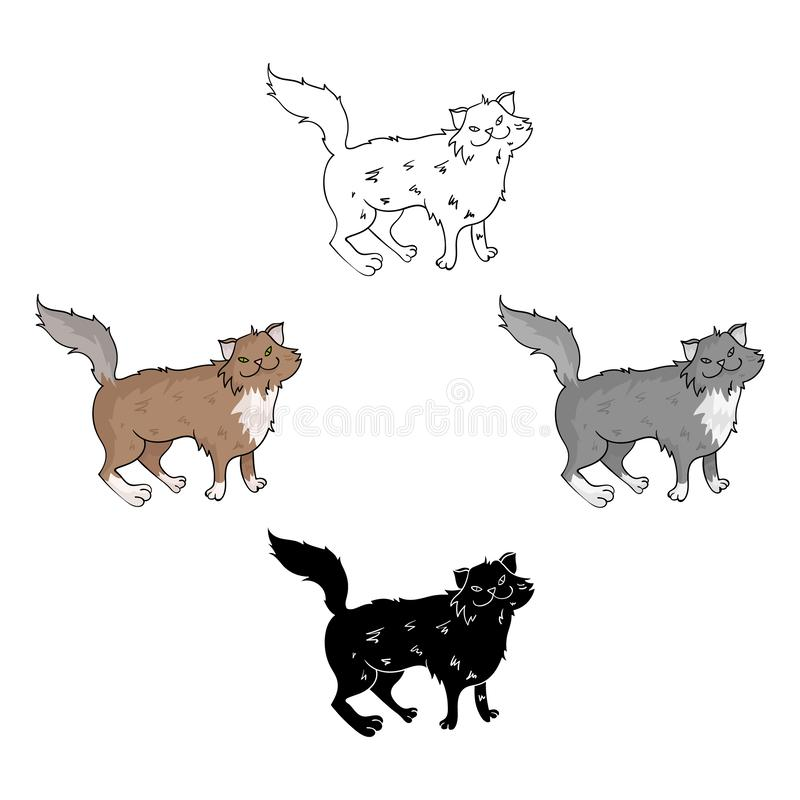 Norwegian Forest Cat icon in cartoon,black style isolated on white background. Cat breeds symbol stock vector vector illustration