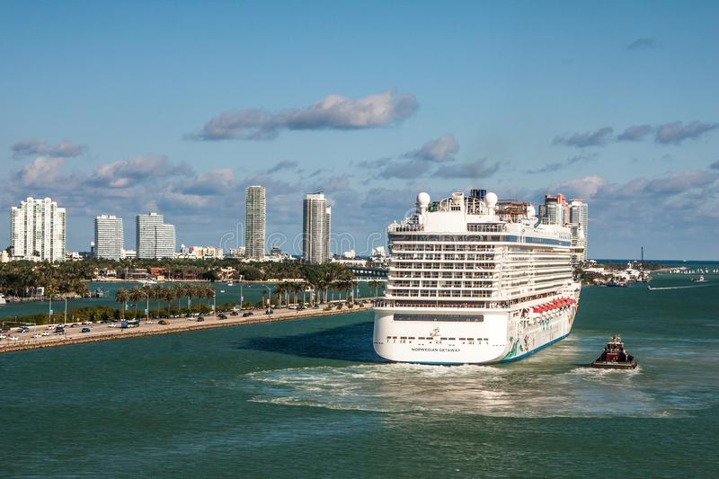 Norwegian Getaway departing from Miami stock images