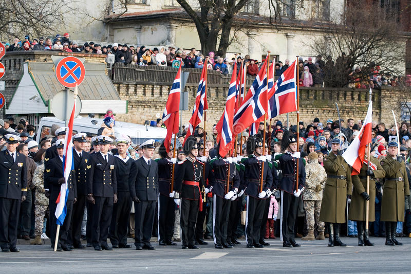 Norwegian Honour Guard at Military parade. LATVIA - NOVEMBER 18: Norwegian Color Guard at Military parade of the National Armed Forces. 90th anniversary of stock image